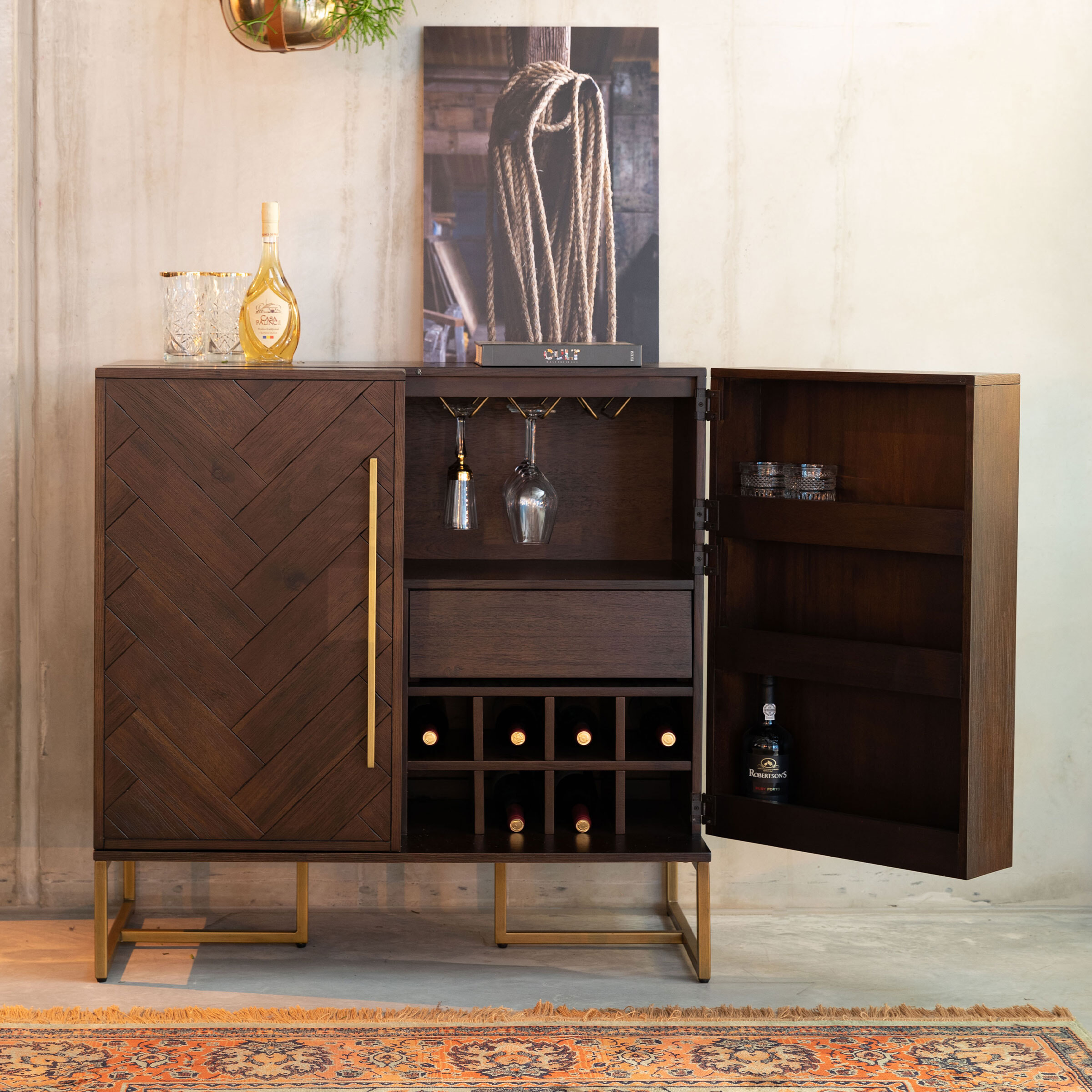 Dutchbone Wijnkast 'Class' Antique Brass, 100 x 100cm