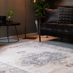 Dutchbone Vloerkleed 'Mahal' 200 x 300cm, kleur Grey/Liver