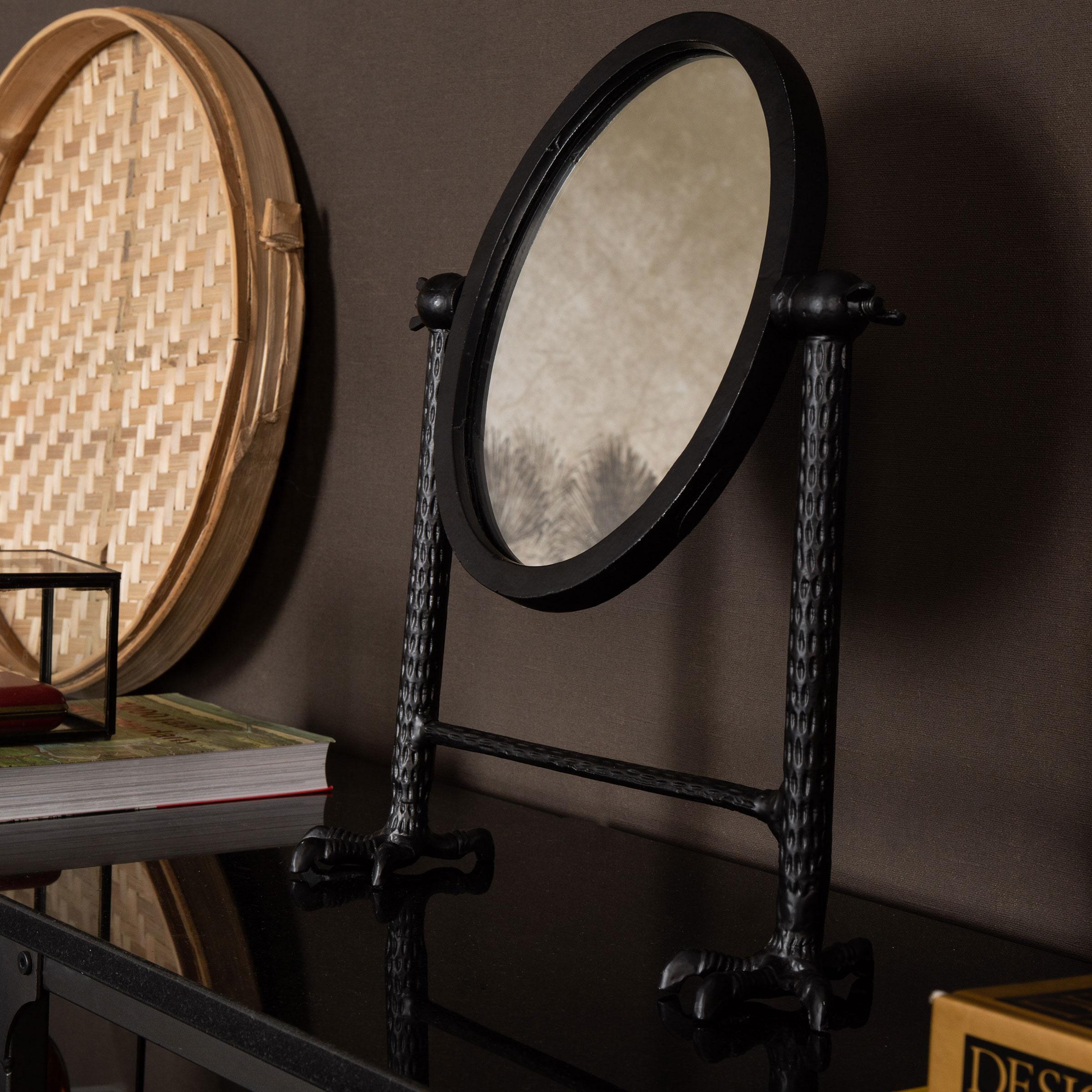 Dutchbone Staande Spiegel 'Falcon' kleur Zwart