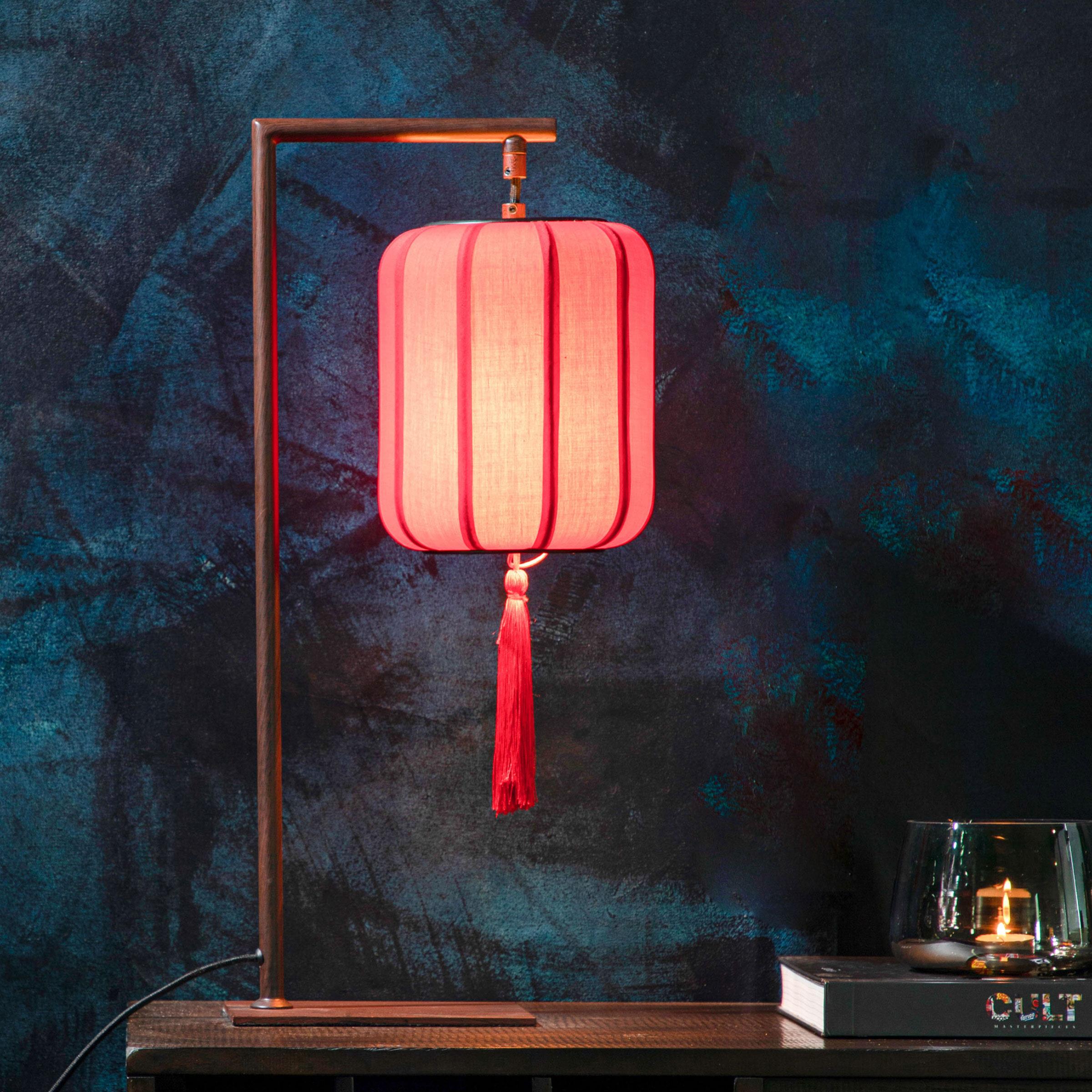 Dutchbone Tafellamp 'Suoni' 60cm, kleur Rood