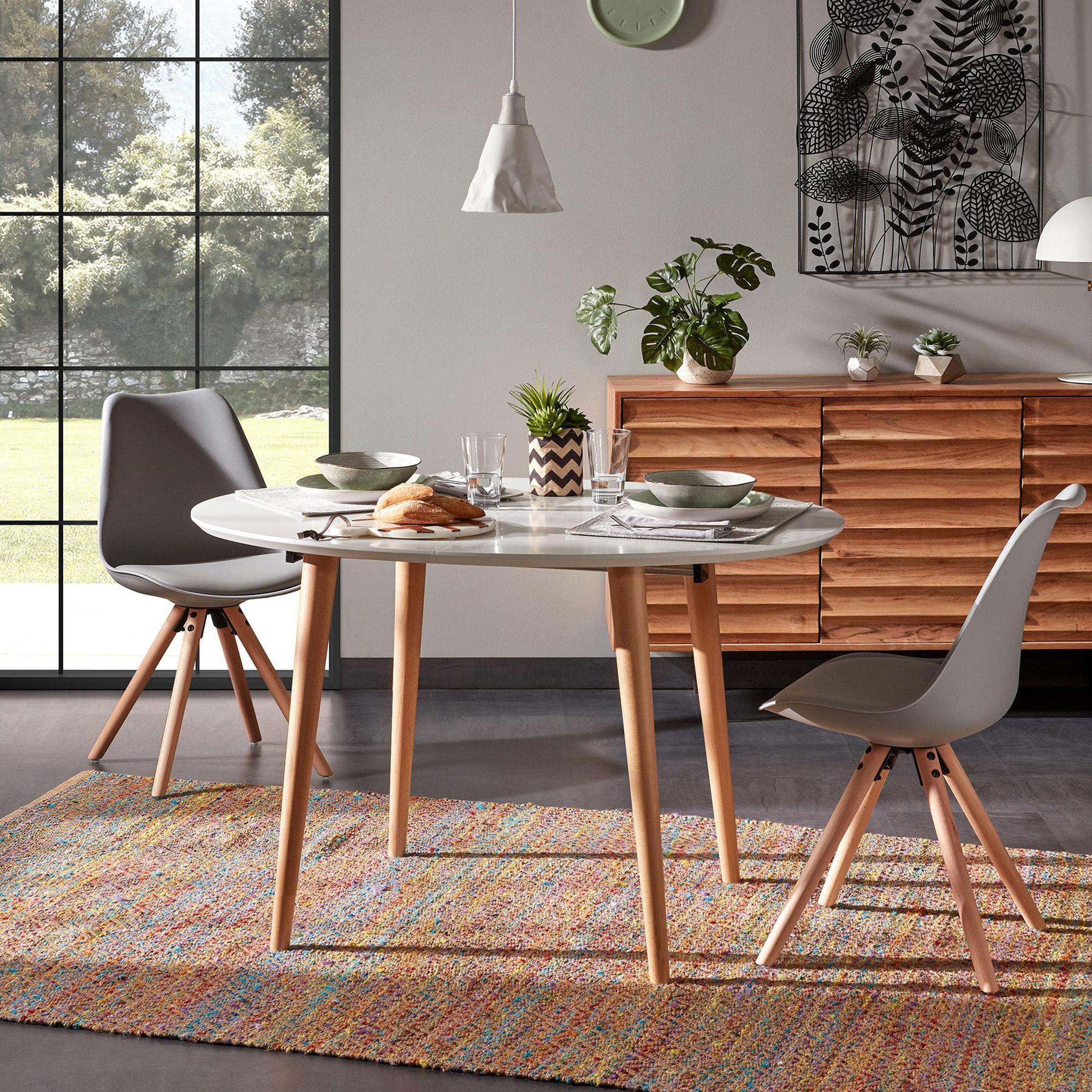 Kave Home Uitschuifbare Ronde Eettafel 'Oqui' 120 - 200 x 90cm, kleur Wit