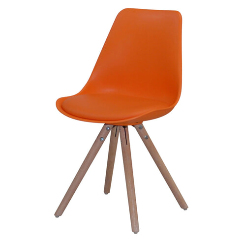 Eetkamerstoel 'Albacete', kleur oranje / eiken