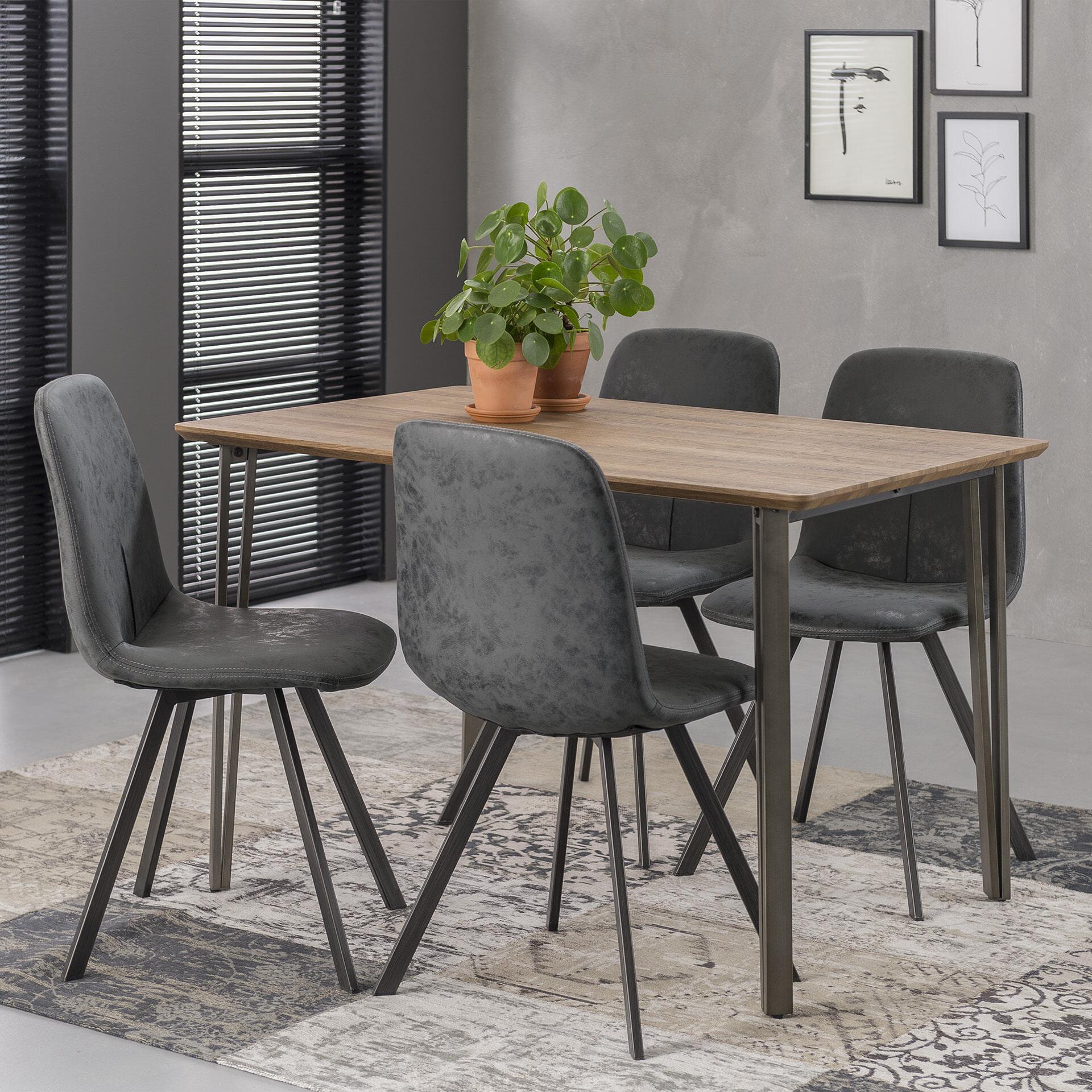 Eettafel 'Arjun' 120 x 80cm, kleur eiken brownwash Tafels | Eettafels vergelijken doe je het voordeligst hier bij Meubelpartner