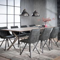 Eettafel 'Harold' 240 x 100cm, kleur eiken greywash