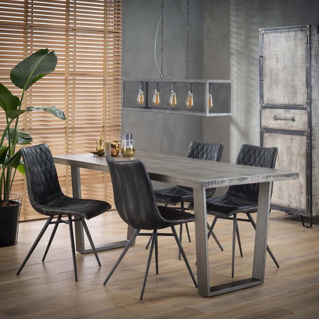 Industriële Eettafel 'Ivo' Mango en metaal, kleur Leem