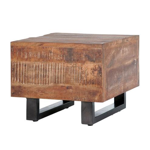 Eleonora Bijzettafel 'Mango Industrieel' Blok, 50 x 50cm