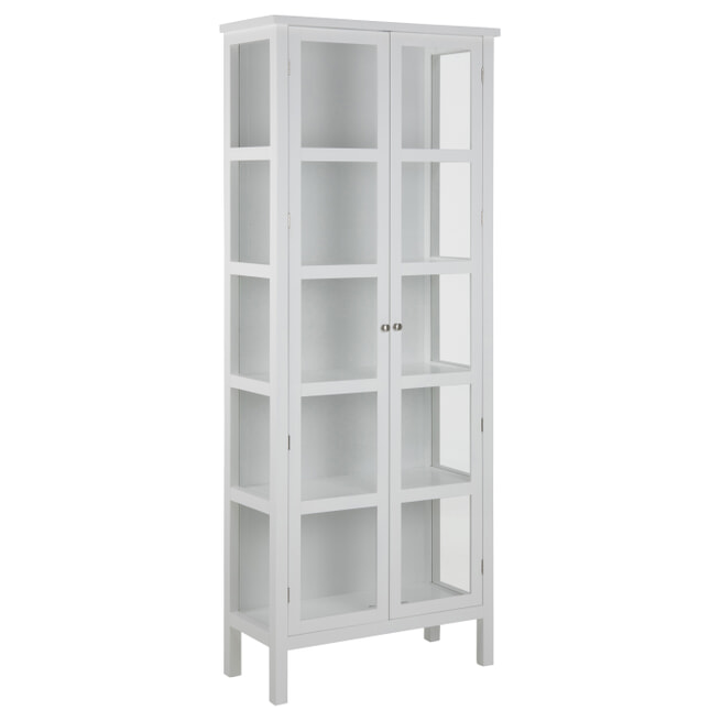 Bendt Vitrinekast 'Yutte' 210 x 80cm, kleur wit
