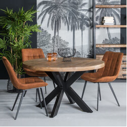 LivingFurn Ronde Eettafel 'Strong Spider' Mangohout en staal