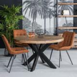 LivingFurn Ronde Eettafel 'Strong Spider' 130cm, Mangohout en staal