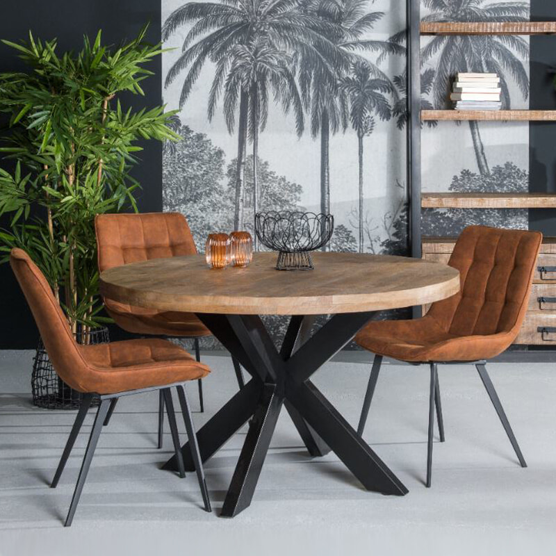 LivingFurn Ronde Eettafel 'Strong Spider' 120cm, Mangohout en staal