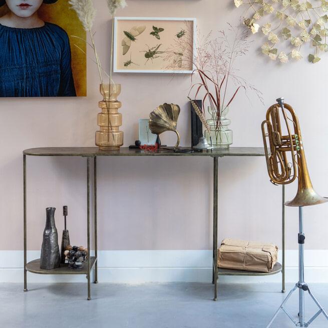BePureHome Sidetable 'Federal' 145cm, kleur Antique Brass