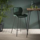 Barstoel 'Gael' Velvet, kleur Groen (zithoogte 67cm)