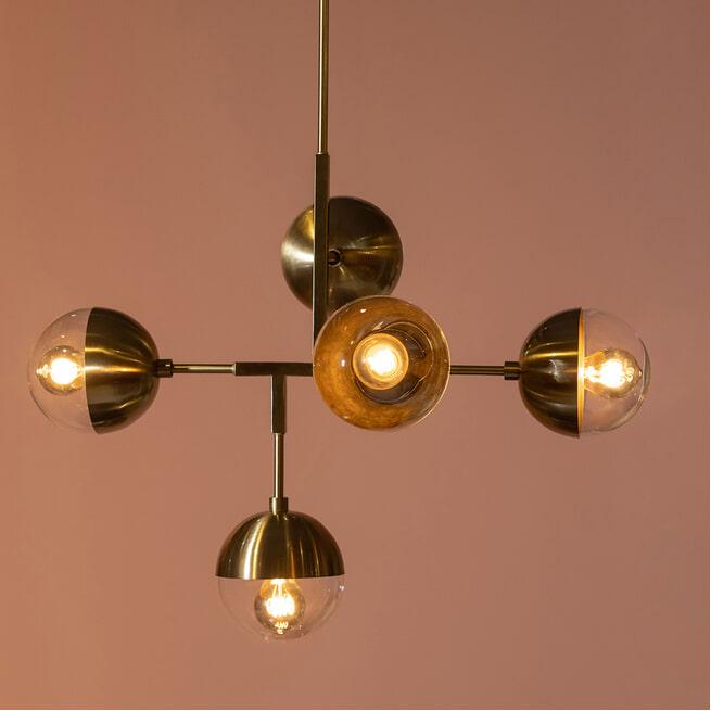 BePureHome Hanglamp 'Globular' 5-Lamps, kleur Goud