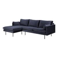 Bendt Loungebank 'Isabella' Links, Velvet 2-zits, kleur Donkerblauw