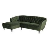 Bendt Loungebank 'Loes' Links, Velvet 2-zits, kleur Forest Green