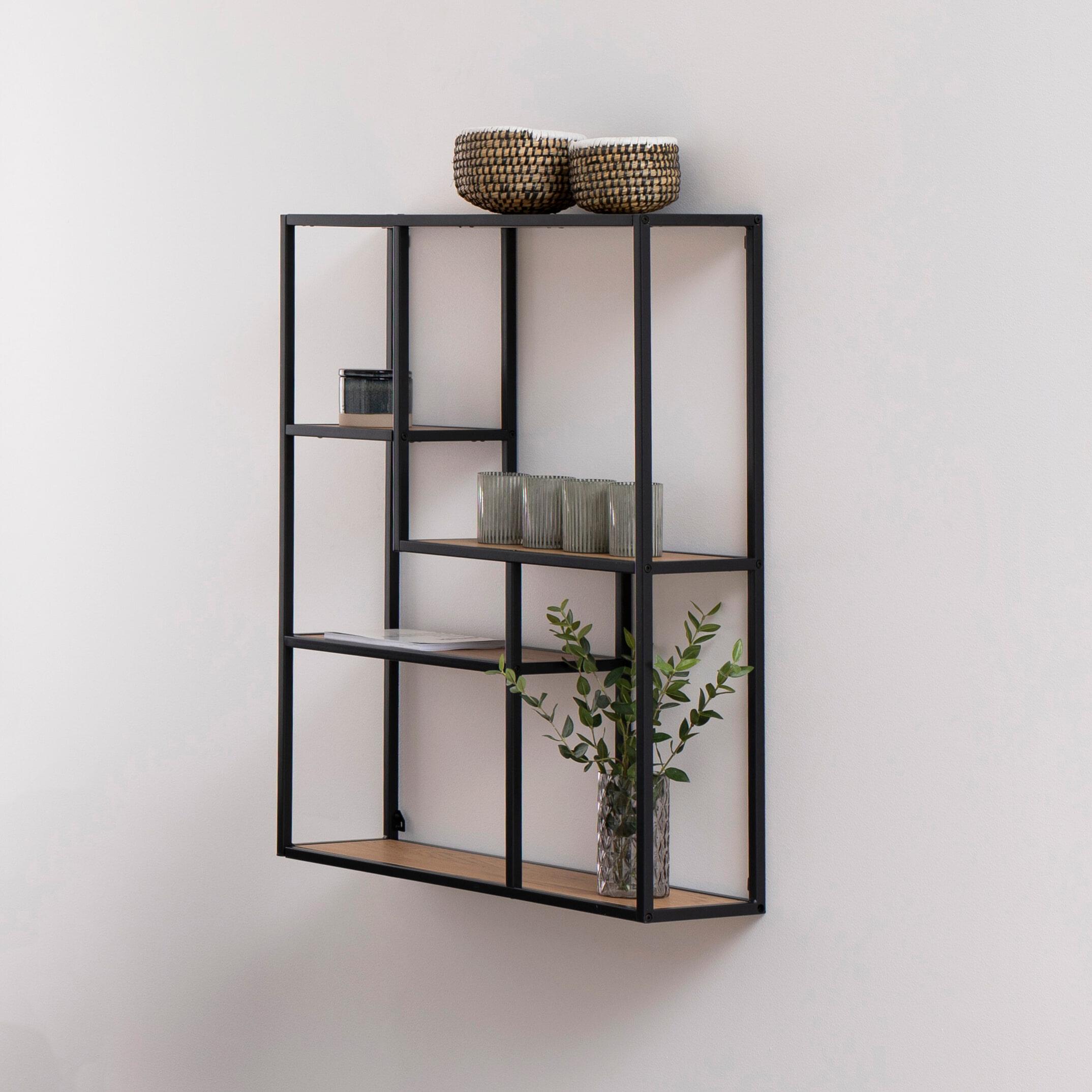 Bendt Hangend Wandrek 'Holger' Hout - metaal 4-laags asymmetrisch, 91 x 75 cm