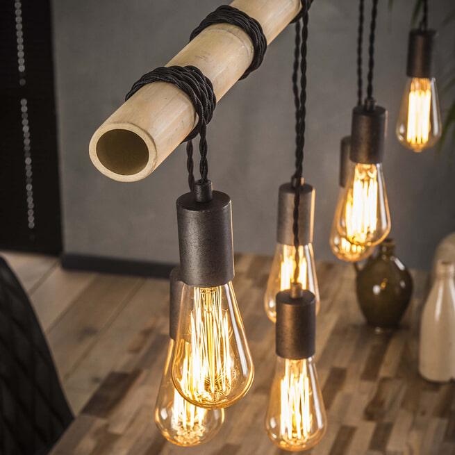 Hanglamp 'Bamboe' met 7 hangende fittingen