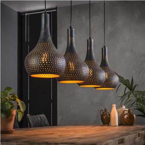 Hanglamp 'Judd' 4-lamps, kleur Zwart/bruin
