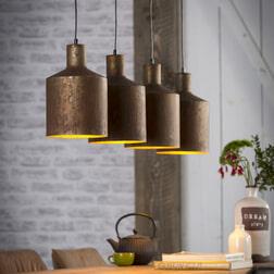Hanglamp 'Lois' Roest 4-lamps, Ø20cm