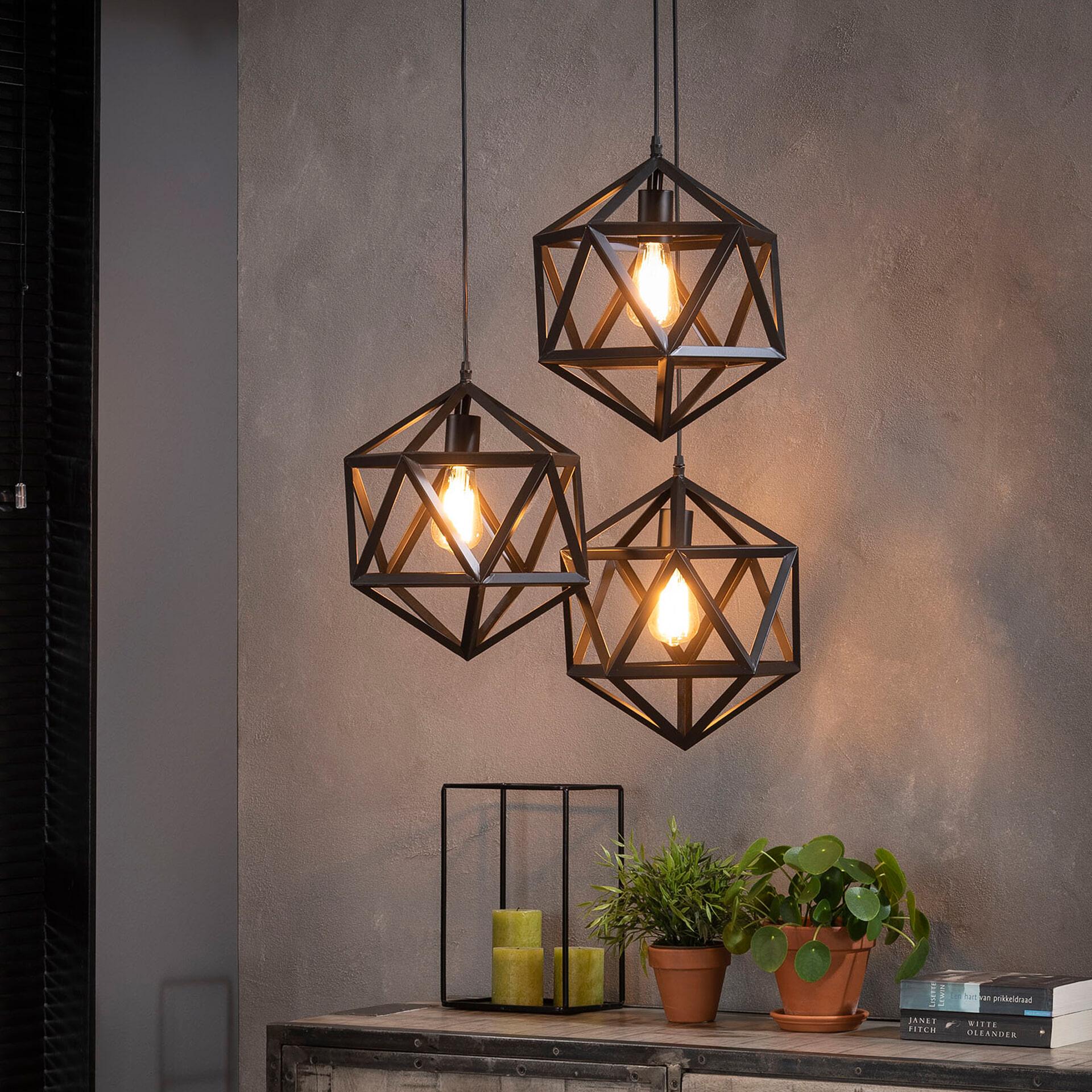 Hanglamp 'Sia' 3-lamps triangel, kleur zwart