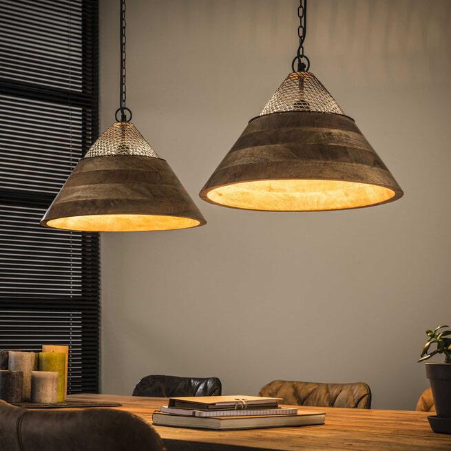 Hanglamp 'Stéphane' mangohout 2-lamps x Ø40cm
