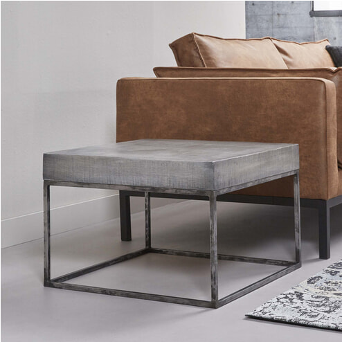 Hoek-salontafel 'Iwan' mangohout 60 x 60cm, kleur grijs antiek