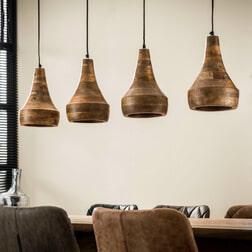 Houten Hanglamp 'Ekrem' 4-lamps