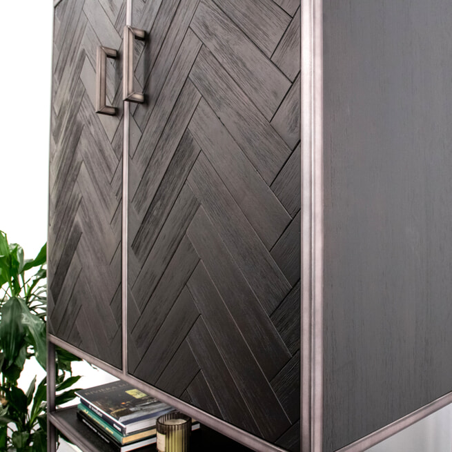 Eleonora Opbergkast 'Hudson' Acaciahout en metaal, kleur zwart