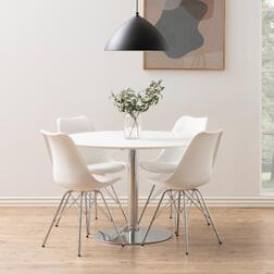 Bendt Ronde Eettafel 'Ibiza' 110cm, kleur chroom / wit