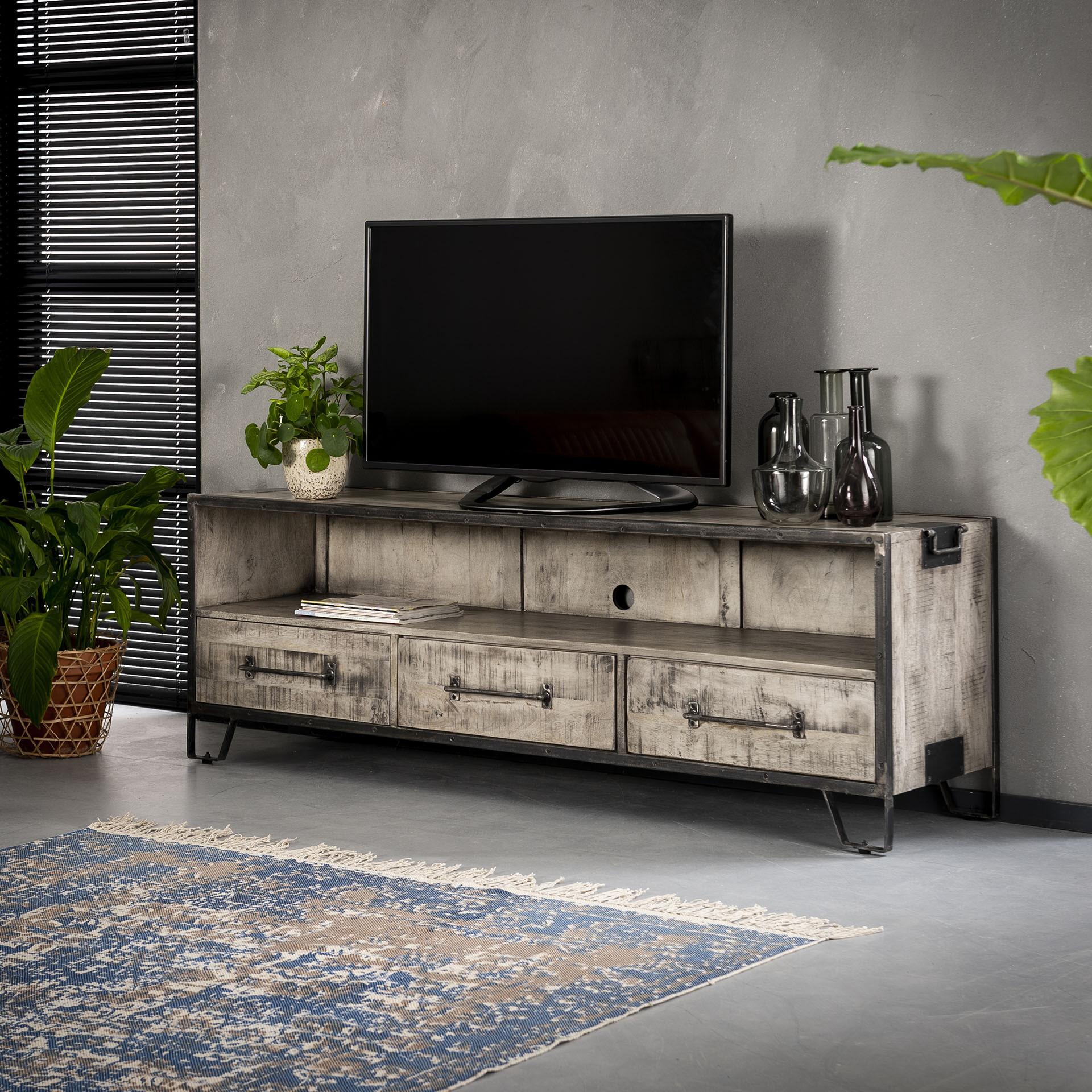 Industrieel TV-meubel 'Rift' massief mangohout, 180cm Kasten | Tv-Meubels & Tv-Kasten vergelijken doe je het voordeligst hier bij Meubelpartner