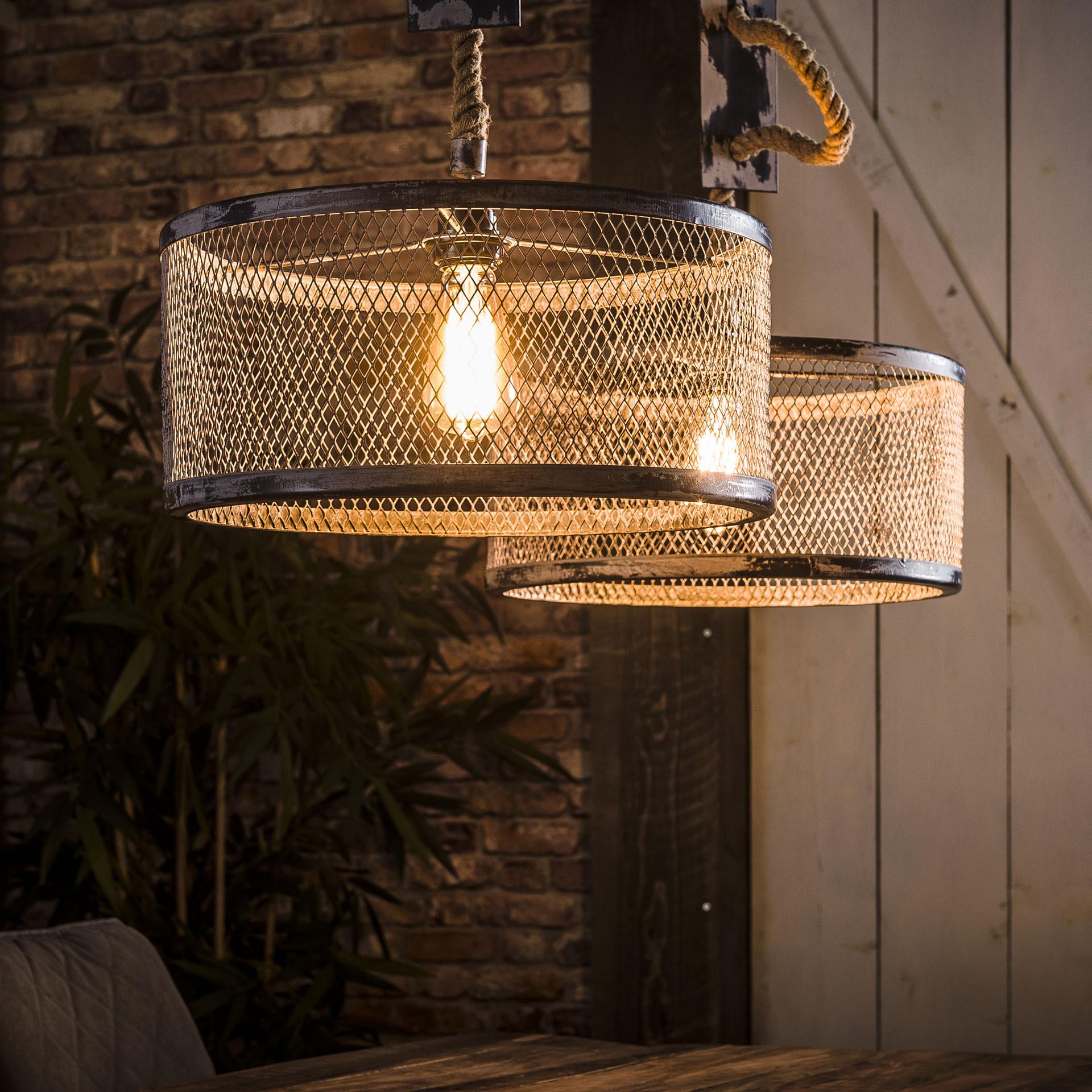 Industriële Dubbele Hanglamp 'Judi' met gaas en touw, 2 x 40cm Verlichting | Hanglampen vergelijken doe je het voordeligst hier bij Meubelpartner