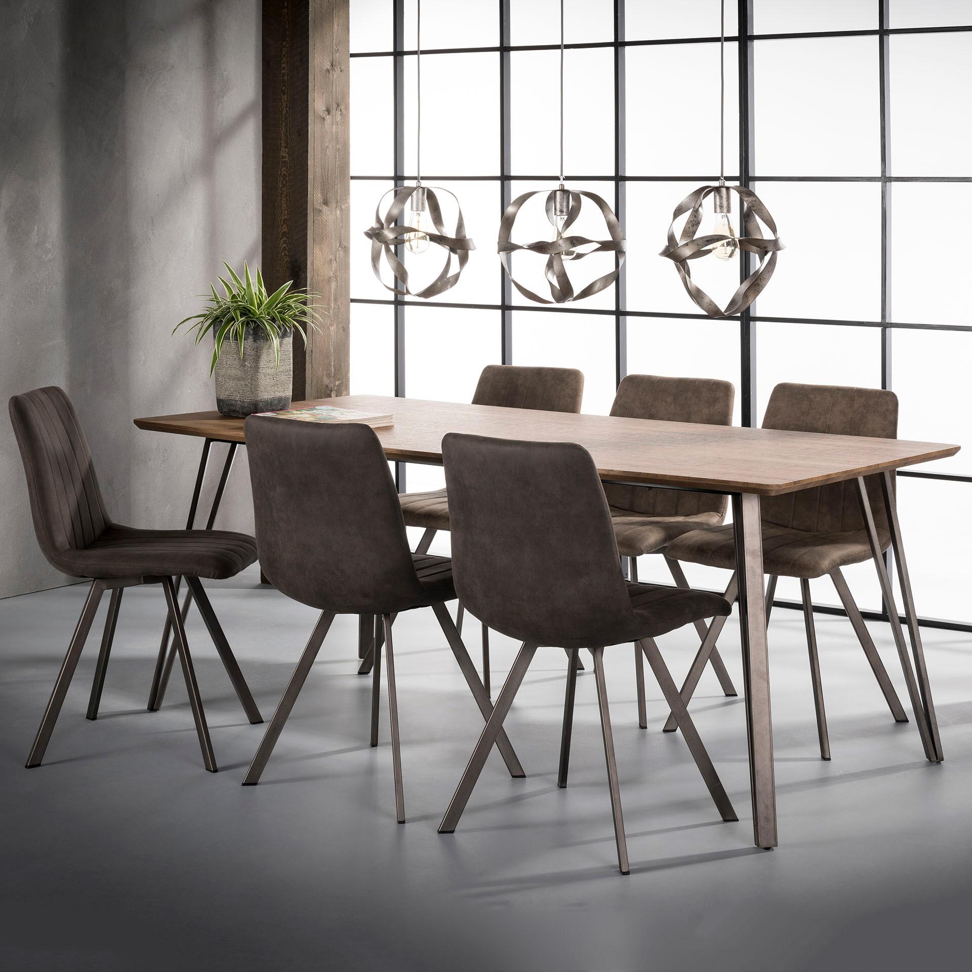 Industriële Eettafel 'Judy' 190 x 90cm, 3D-eikenlook