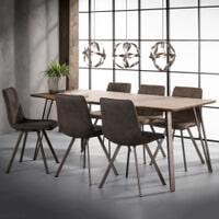 Industriële Eettafel 'Judy' 3D-eikenlook brownwash, 190 x 90cm