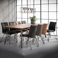 Industriële Eettafel 'Judy' 3D-eikenlook brownwash, 240 x 100cm