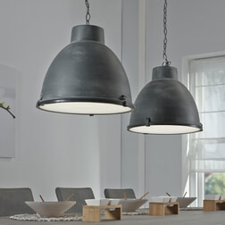 Industriële Hanglamp 'Brigida' met dubbele kap, kleur grijs
