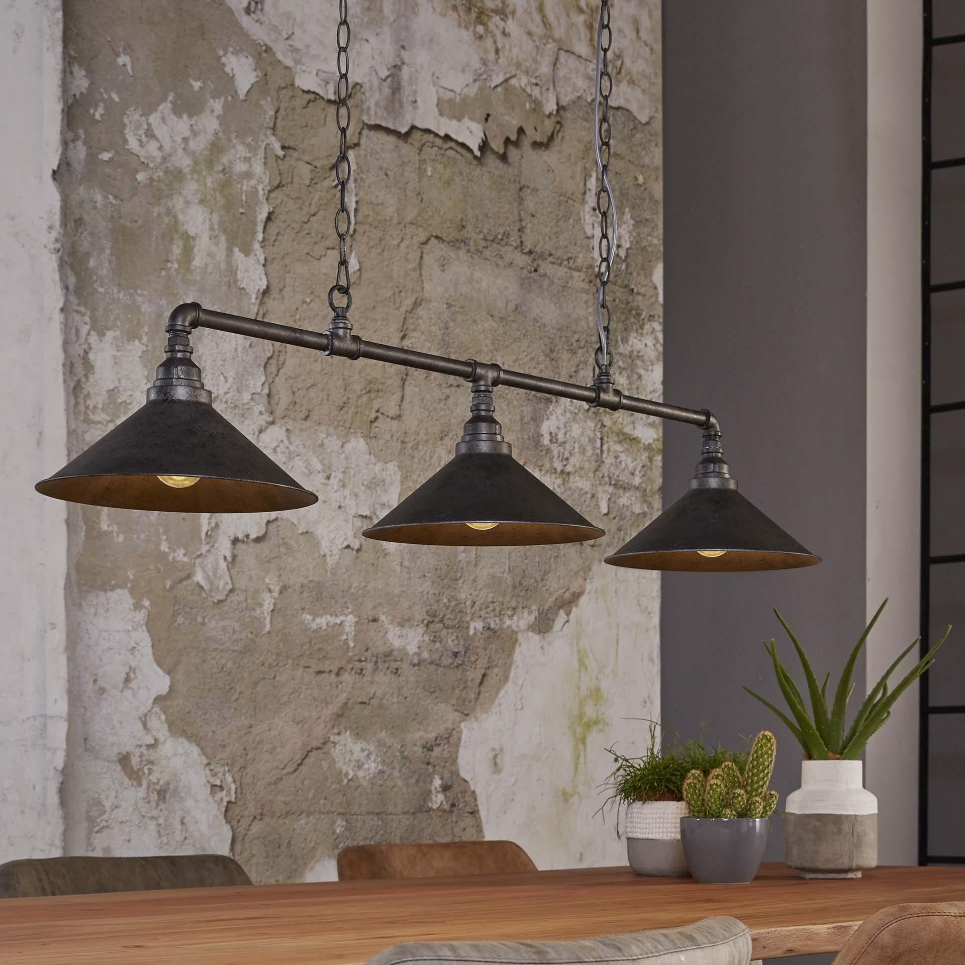 Industriële Hanglamp 'Rod' met 3 kappen van Ø30 cm Verlichting | Hanglampen vergelijken doe je het voordeligst hier bij Meubelpartner