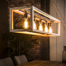 Industriële hanglamp 'Thelma' 5-lamps, mango-hout