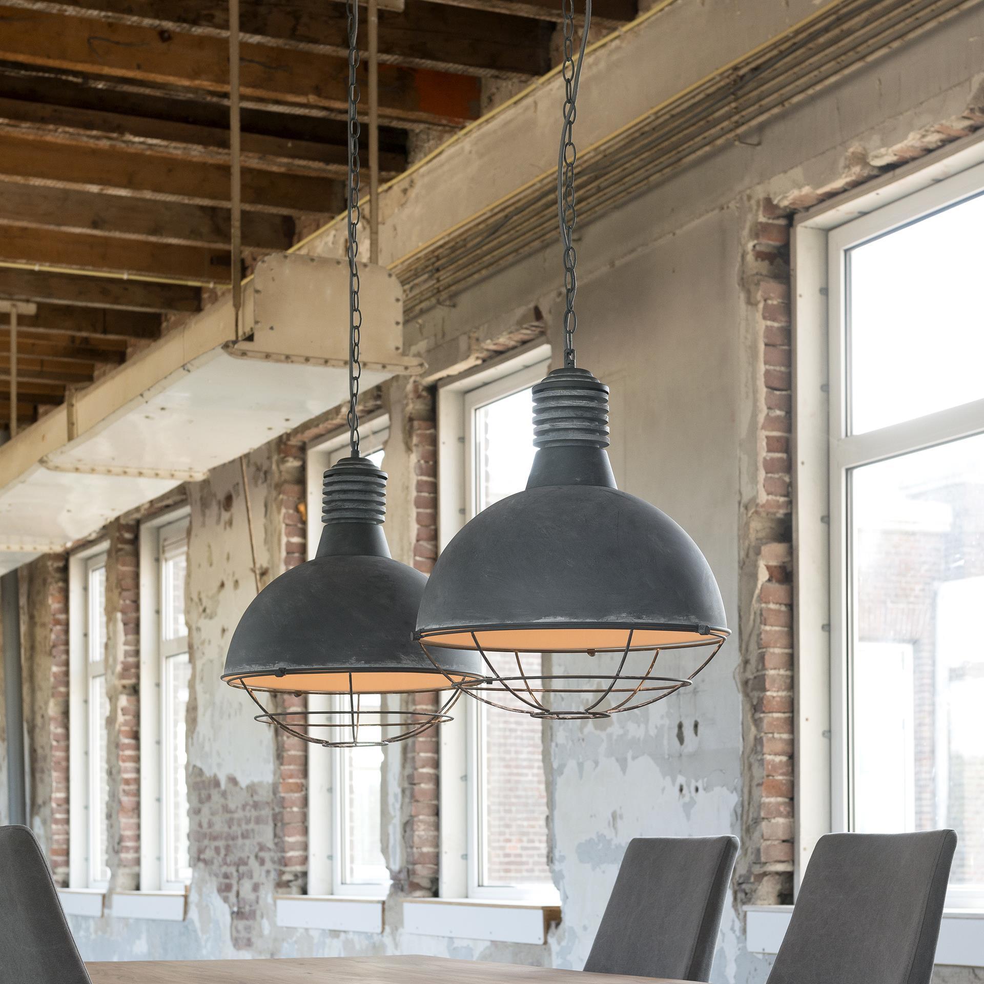 Industriële Hanglamp 'Trevon' met dubbele kap in betonlook, 41cm Verlichting | Hanglampen vergelijken doe je het voordeligst hier bij Meubelpartner