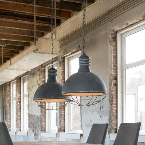 Industriële Hanglamp 'Trevon' met dubbele kap in betonlook, 41cm