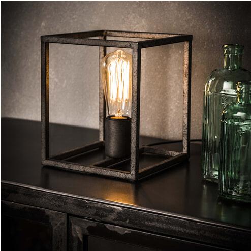 Industriële Tafellamp 'Cubic' oud zilver