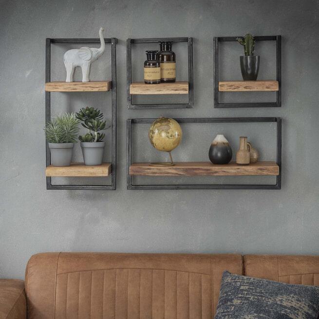 Industriële Wandplankset 'Buster' Small, set van 4 items