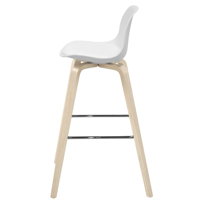 Interstil Barkruk 'Zaki' (zithoogte 70cm), kleur wit / hout