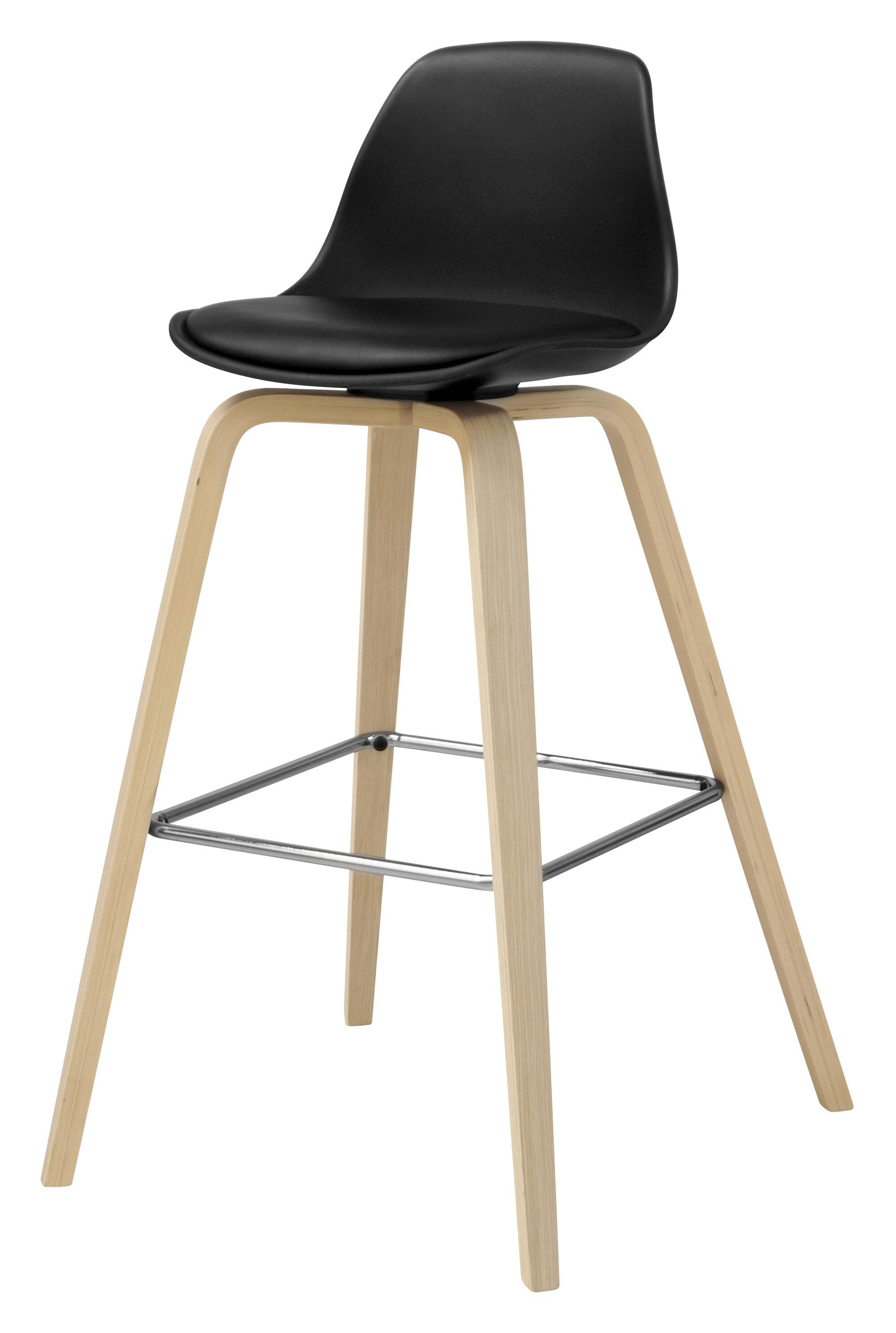 Interstil Barkruk 'Zaki' (zithoogte 70cm), kleur zwart / hout Zitmeubelen | Barkrukken & Barstoelen vergelijken doe je het voordeligst hier bij Meubelpartner