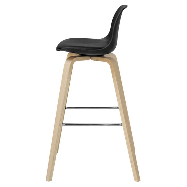 Interstil Barkruk 'Zaki' (zithoogte 70cm), kleur zwart / hout