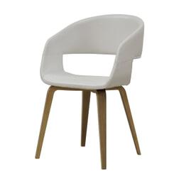 Interstil Eetkamerstoel 'Nova', kleur wit / hout
