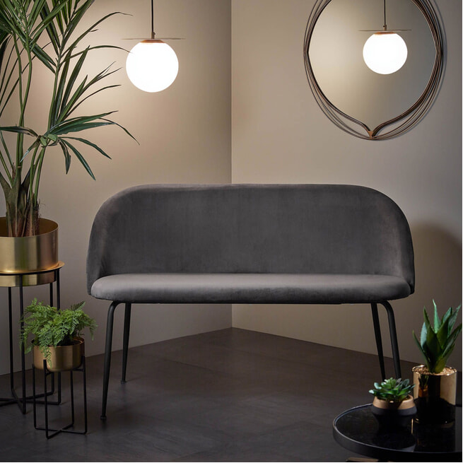 Kave Home Eetkamerbank 'Ivonne' Velvet 120cm, kleur Grijs