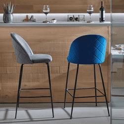 Kave Home Barkruk 'Ivonne' Velvet (zithoogte 76cm), kleur Grijs