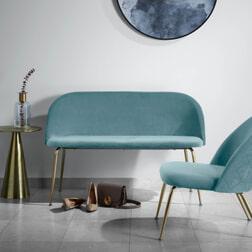 Kave Home Eetkamerbank 'Ivonne Gold' Velvet 120cm, kleur Blauwgroen