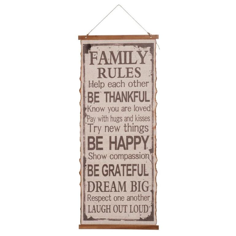 J-Line Muurbord 'Family Rules'