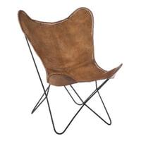 J-Line Vlinderstoel 'Marceau' leder, kleur cognac